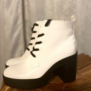 white platform booties
